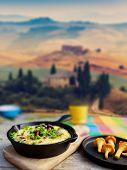 Italian Frittata with chantarelle mushrooms - Italian cuisine