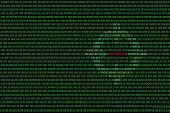 Binary Computer Code Background, With Red Password