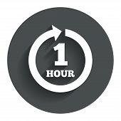 Every hour sign icon. Full rotation arrow.