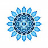 stock photo of kundalini  - Illustration of a blue throat chakra mandala - JPG