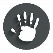 Hand print sign icon. Stop symbol.
