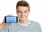 Handsome Teen Showing Smart Phone With Blank Screen.