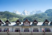 CHAMONIX, FRANCE - SEPTEMBER 02: Facade of Chamonix train station, with Mont Blanc in the background