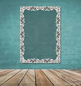 Vintage frame on brick wall, vector illustration.