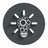 Light lamp sign icon. Bulb with circles symbol