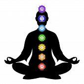 foto of kundalini  - Illustration of meditation with the seven chakras - JPG