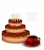 Background with birthday chocolate cake and a cup of coffee. Vector.