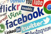 Belgrade - May 13, 2014 Facebook, Twitter And Other Popular Social Media Website Logos On Personal C
