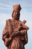 GEMUNDEN, GERMANY - 18 JULY: Saint John of Nepomuk, statue on the main street of Gemunden in Bavaria