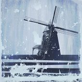 Grunge Windmill Background