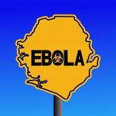 Danger Ebola biohazard Sierra Leone map sign on blue illustration