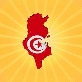 Tunisia map flag on sunburst illustration
