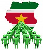 pic of suriname  - Lines of people with Suriname map flag illustration - JPG