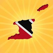 Trinidad map flag on sunburst illustration