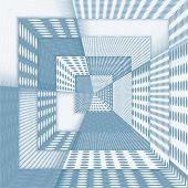 Fantasy Futuristic Corridor In Blue Colour