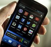 Belgrade - February 03, 2014: Popular Social Media Icons On Smartphone Screen