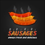 Grilled Sausages vector poster. Barbecue banner