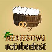 Cold beer poster. Oktoberfest beer festival.