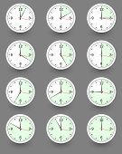 Twelve clocks showing different time. Vector