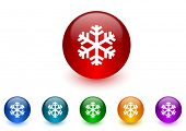 snow internet icons colorful set