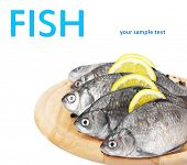 Fresh fishes with lemon and spice on wooden cutting board isolated on white