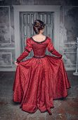 Beautiful Medieval Woman In Red Dress, Back