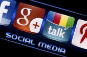 Belgrade - September 09, 2014 Social Media Icons Google Talk And Google Plus On Smart Phone Screen C