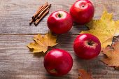Red Apples And Yellow Leaves