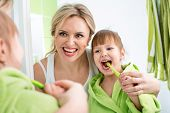 Mother With Kid Brushing Teeth