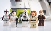 Ankara, Turkey - April 24, 2014: Lego Star Wars Republic Gunship minifigures Obi-Wan Kenobi, Anakin