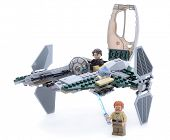 Ankara, Turkey - May 23, 2013: Lego Starwars Anakin's Jedi Interceptor with Anakin Skywalker, Obi-Wa
