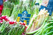 asparagus and different vegetables on market
