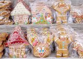 Sweet Gingerbread For Gift Wrapping In Cellophane