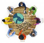 Aerial View of People and Social Media Concepts