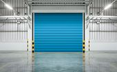 foto of roller shutter door  - Shutter door or rolling door blue color night scene - JPG