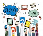 Hands Holding Digital Devices Cloud Networking