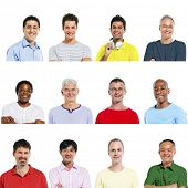 Portraits of Multiethnic Diverse Cheerful Men