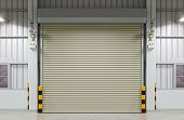 image of roller shutter door  - Shutter door or rolling door night scene - JPG