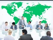 Business People Having a Discussion and World Map