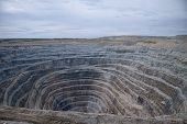 Aerial View To The Diamond Open Mine In Udachny Town, Sakha Yakutia, North Of Russia