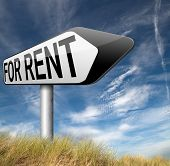 For rent sign, renting a house apartment or other real estate banner. Home room or flat to let