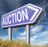 Auction sign online sale bidding and buying real estate cars and houses