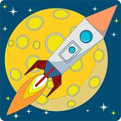 Space Rocket on Moon Background