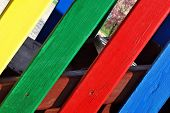 Colored wooden fence