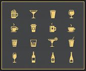 Drinks and beverages icon set. Vector icons
