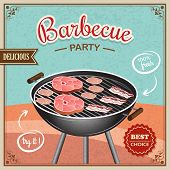 stock photo of bbq party  - Bbq grill party best choice flyer promo restaurant poster vector illustration - JPG