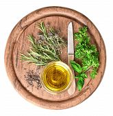 Olive Oil With Fresh Herbs Thyme, Basil And Rosemary