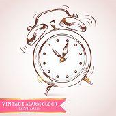 Old retro alarm clock card