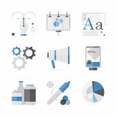 Advertising Development Flat Icons Set