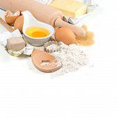 Baking Ingredients Eggs, Flour, Yeast, Sugar, Butter. Kitchen Utensils